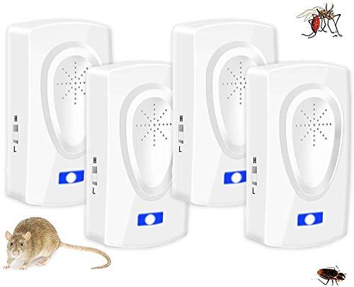 Repelente Ultrasónico Mosquitos, Control de Plagas para Las Ratas y Ratones,Cucarachas,Mosquitos,Moscas,Hormigas,Arañas,Insectos,Roedores,Antimosquitos Eléctrico Extra Fuerte para Interiores (4-Pack)