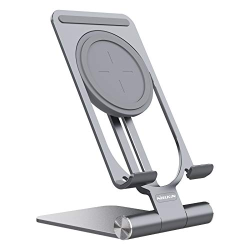 Nillkin Phone Stand Adjustable, 2-in 1 Phone Holder with 15W Fast Wireless Charger Stand Aluminum Phone Dock Stand Compatible with i Phone 12 Pro max 11 Pro Max, Samsung S 20 Ultra and More (Grey)