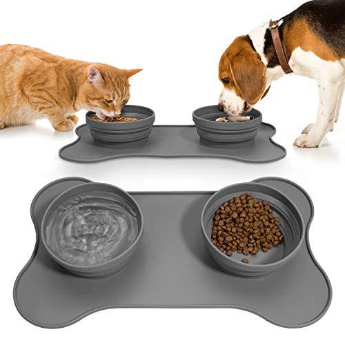 ANBET Silikon Futtermatten mit Fressnapf, Lebensmittel Wassernapf mit rutschfest Silikonmatte Zusammenklappbar Hundenapf Reisen Schüssel für Hund und Katze, 17.1 * 10in