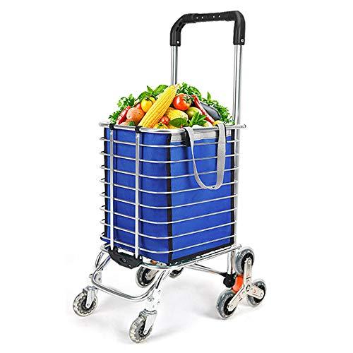 Carro de la compra de gran capacidad con ruedas, carrito de la compra plegable con bolsa impermeable extraíble y resistente, de 8 ruedas con marco de aleación de aluminio (48 x 60 x 98 cm)