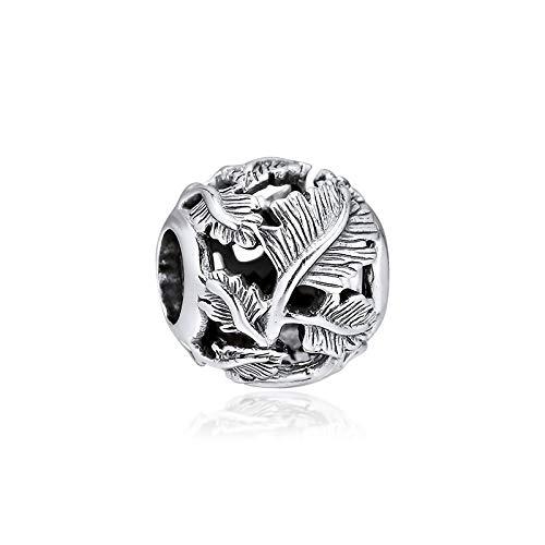 LILANG Pulsera de joyería Pandora 925, encantos de Hojas caladas Naturales, Cuentas de Plata esterlina Originales, joyería para Mujer, Regalos DIY