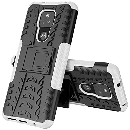 GARITANE Funda Compatible con Motorola Moto G Play 2021,Híbrida Rugged Armor Case Back Cover Choque Bumper Carcasa con Kickstand (Blanco)