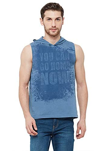 Wear Your Opinion Sweat Activated Gym Sleeveless Hoodies T-Shirt (Design: Go Home) Airforce Blue