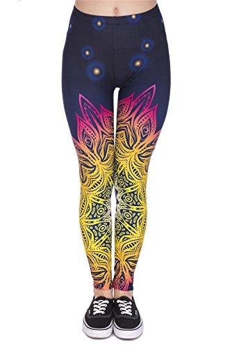 kukubird Printed Patterns Women\'s Yoga Leggings Gym Fitness Running Pilates Tights Skinny Pants 8 to 12 Stretchable - Mandala Light