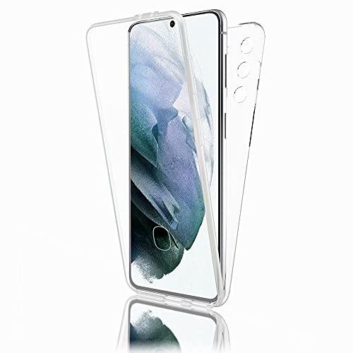 Kaliroo Funda rígida 360° compatible con Samsung Galaxy S21, transparente, carcasa rígida fina con silicona y protector de pantalla, transparente