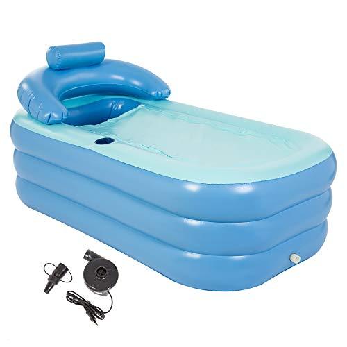 HIRAM Aufblasbare Badewanne Spa-Badewanne Aufblasbare Pool mit elektrische Pumpe für Erwachsene Reise Wanne PVC Klappbar Bathtub