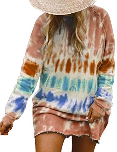 YNALIY Damen Tie Dye Sweatshirts Pullover Kleid Langarm Übergroße Zerrissen Tunika Bluse Tops