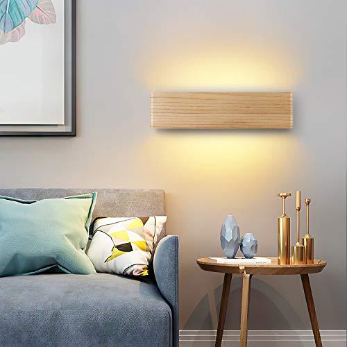 Martll Lámpara de Pared LED, Aplique de pared Interior Madera Luz de Pared Blanco Cálido Iluminación de pared para Sala de estar Pasillo Escaleras Luz Nocturna (32cm)