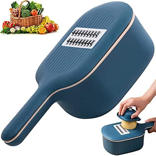 Mandolina Affettatrice di Verdure con Cestello di Scarico - Grattugia Multiuso con Protezione per Cucina - Patate Cipolle Frutta Salad Formaggio Verdura Cutter