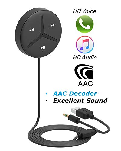 Aston Innovations SoundTek A1+ Aux Bluetooth Car Kit Handsfree Calls Music Streaming Qualcomm Chipset Built in DSP + MIC and Noise Isolator AAC Codec Aux Bluetooth Receiver/Adaptor for Car SUV Trucks