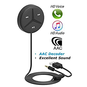 Bluetootoh Handsfree 3.5mm Aux Bluetooth Receiver Car Handsfree Support AAC Decoder Music Streaming for Car and Home Theater Voice Assistant Built-in Noise Isolator