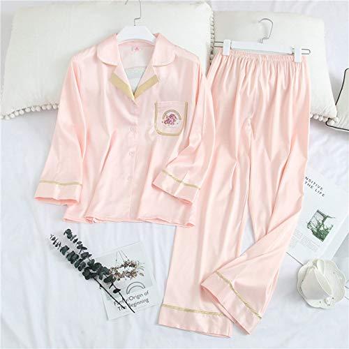 JFCDB Nachthemd 2020 Afdrukken Mode Vrouw Sexy Ijs Zijde Broek met lange mouwen Twinset Pyjama Zomer Vest Dunne sectie Nachtkleding, roze kleur, XL