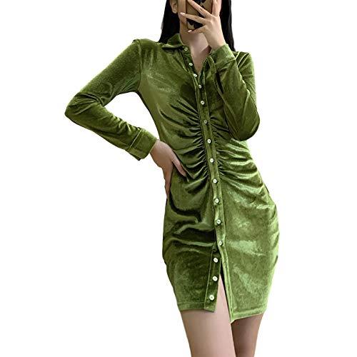 nvIEFE Vestido sexy ajustado de manga larga plisado con solapa para mujer