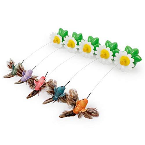 2 Stück elektrisch rotierende fliegende Vogel-Katzenspielzeug, lustige Blumen und grüne Blätter, interaktives Spielzeug, um 360 Grad drehbar, Kratzspielzeug für Katzen (zufällige Farbe)
