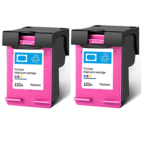 Cartucho de tinta 121XL, repuesto de alto rendimiento para impresoras HP Deskjet F4275 F4280 F4238 F4283 PhotoSmart C4780 ENVY 100 110, color negro y tricolor, 2 tricolor