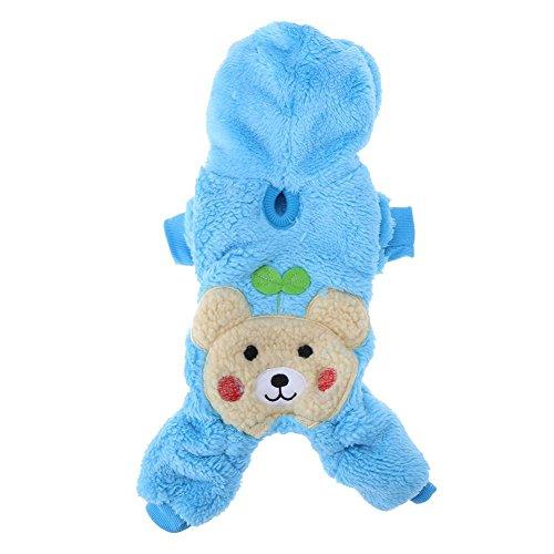 Gowind6 Hond Kleding Winter Warm Huisdier Hond Kleding Leuke Blad Puppy Kostuum Hooded Jumpsuit Outfit, M, Blauw