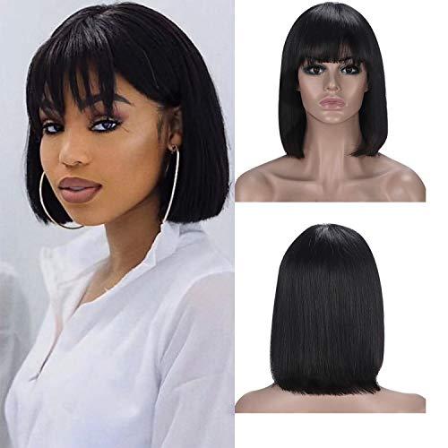 100% Cheveux Humains Bob Courte Droite Perruque Vierge Remy Cheveux avec Bangs pour Femmes Frange Perruques Sans Colle Brésiliennes de Cheveux Humains Naturel Noir 10 Pouces