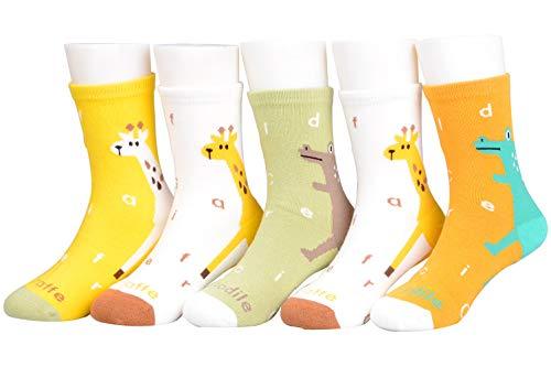 Socken, 5 Paar, Baumwolle, verschiedene Motive, für Kinder, 1 - 11 Jahre Gr. Small, Dino-Giraffe