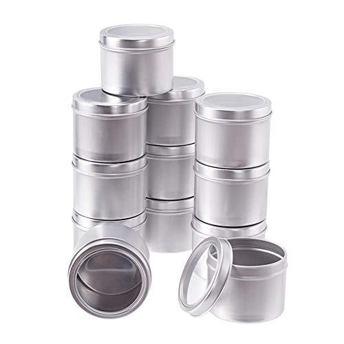 BENECREAT 12 100ml Pots d'aluminium boîtes Rondes en Aluminium pour contenants cosmétiques avec Couvercle pour Bricolage - Platine