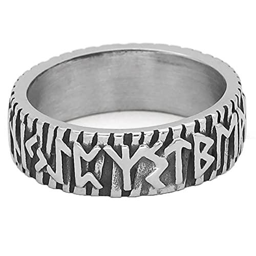 Anillo Rúnico Vikingo Talismán Religioso De Acero Inoxidable Joyería Celta Mitológica Nórdica,12