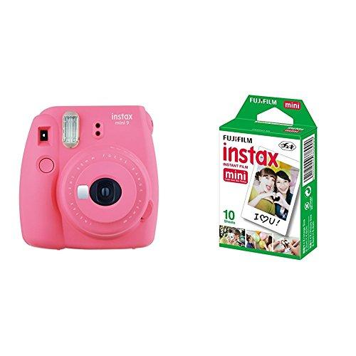 Fujifilm Instax Mini 9 , Rosa + 1 paquetes de películas fotográficas instantáneas (10 hojas)