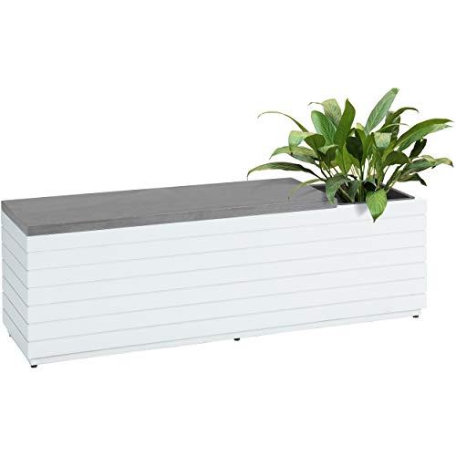 Euromate GmbH Pflanzbank Eldorendo aus Holz Weiß | Rechteckige Sitzbank mit herausnehmbarer Einsatz aus Kunststoff zum Bepflanzen