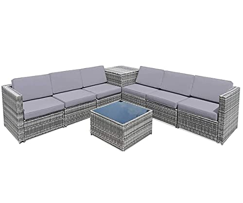 Happygrill 8 Pieces Patio Conversation Set Outdoor Rattan Furniture Set Sectional Wicker Sofa Set...