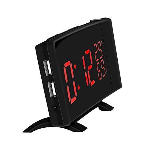 MingXinJia Relojes de Cabecera para el Hogar Reloj Despertador Digital Led, 180 ° Ajustable 2 Usb Carga Temperatura Interior Encendido Niños Despertar Escritorio Arte Reloj Oficina