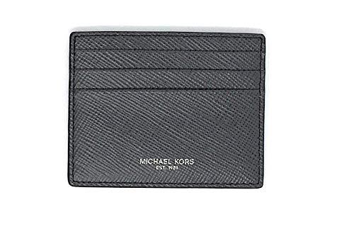Michael Kors Mens Slim Leather Card Case Wallet (Grey Saff)