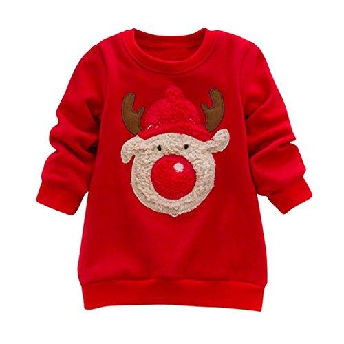 Hirolan Weihnachten Sweatshirt Kinderbekleidung Langarmshirt Strickpullover Kapuzenpullover Cardigan Weihnachtskostüm Schneeoverall Kleinkind Baby Frühling Hirsch Oberteile (Rot, 90/24M)