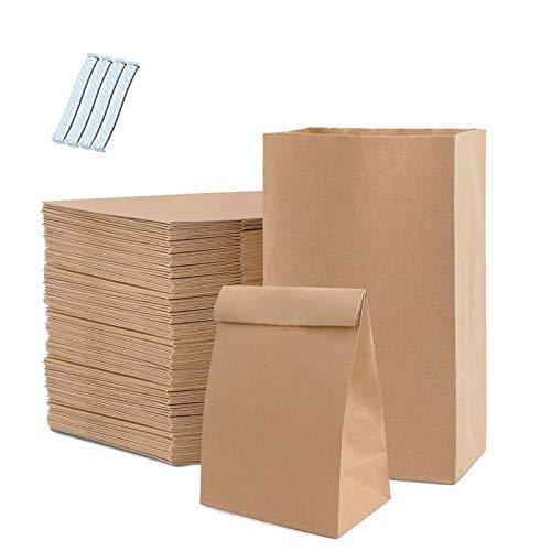 Old Tjikko 100 Stück Papiertüten Braun,Tüten Papier,21.5 x 7x12cm Kraftpapiertüten Geschenktüten Braune Tüten für Süßigkeiten,Brot Keksverpackung,Ostertaschen Christmas,Tüten