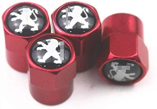 4 Piezas Tapas válvulas de neumáticos para Peugeot 107/108 206/207/308/307/508/2008,Logotipo del coche...
