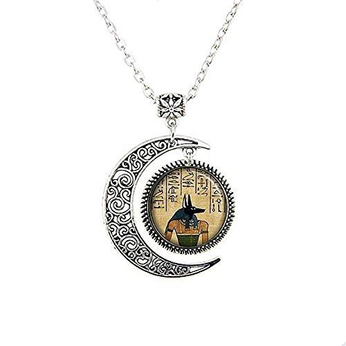 stahpk Anubis - Collar de luna, Anubis con colgante de luna, joyería egipcia, antiguo dios de los muertos, guardián de las almas, Anubis Jewelry