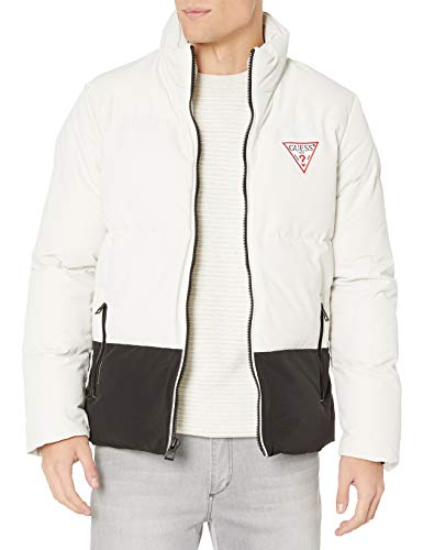 Guess Herren Color Block Puffer with Large Triangle and Back Logo Jacke, Stone, XX
