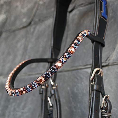 GlücksHucke Glitzer Pferde Stirnband 'Blue Diamond' handgenäht in Dunkelblau, Blau & Roségold, geschwungen, schmal (WB, Leder Dunkelbraun)