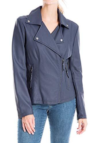 Max Studio Women's Faux Leather Jacket, Navy, Large