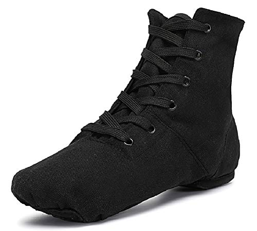 Smithmelody Canvas Jazz Dance Boots Ballet Dancing Sneakers for Adult Men Women (8.5/41, Black