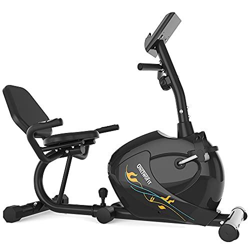 ONETWOFIT Bicicleta Estática, Bicicleta de ejercicio reclinada magnética con 8 niveles de resistencia, ciclismo en interiores para el entrenamiento de adultos mayores OT0328