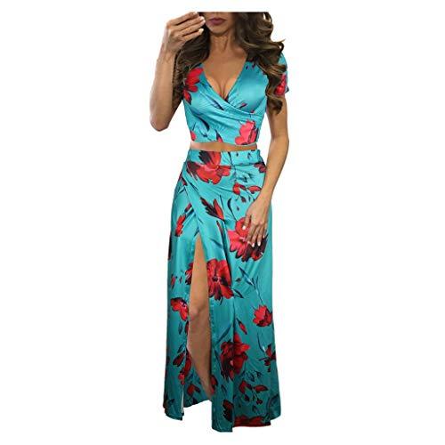 GOKOMO Damen Women Sleeveless Set Kleid V-Ausschnitt Long Beach Print Kleid(C,X-Large)