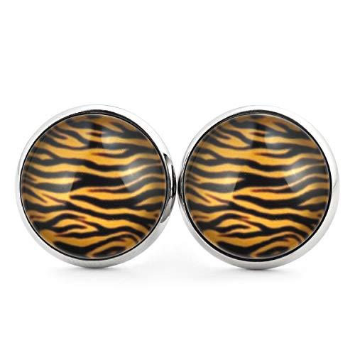 SCHMUCKZUCKER Damen Ohrstecker Motiv Tiger Streifen Muster Edelstahl Ohrringe Silber Schwarz Gelb 14mm
