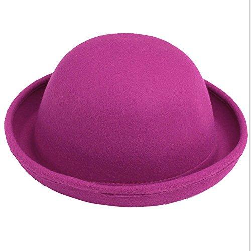 Fletion Femmes Enfants Hiver Laine Feutre rouleau Brim Billycock Cloche Bucket Bowler Derby Fedora Hat(Rose)