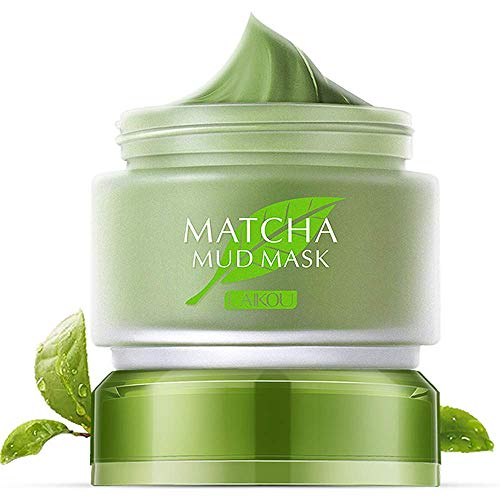 Green Tea Matcha Mud Facial Mask Deep Cleaning Oil-Control Moisturizing Blackhead Remover Anti Acne Improving & Anti Aging Skin Pore Cleanser Mud