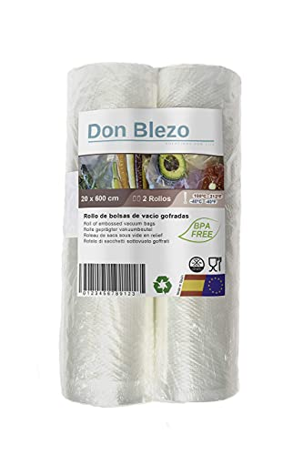 Don Blezo 2 Rollos de bolsas al Vacío Gofradas para envasadora 20x600 centímetros 2 Rollos Hecho en España BPA Free