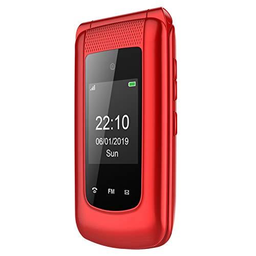 3G Seniorenhandy ohne Vertrag, Großtasten Mobiltelefon klapphandy Einfach und Tasten Notruffunktion für Senioren,Dual-SIM 2.4 Zoll Display (Rot)