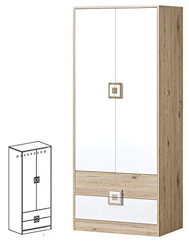 Furniture24 Kleiderschrank NICO 01, Drehtürenschrank, Schrank mit 2 Schubfächern und Kleiderstange (Hell Eiche/Weiß/Hell Eiche)