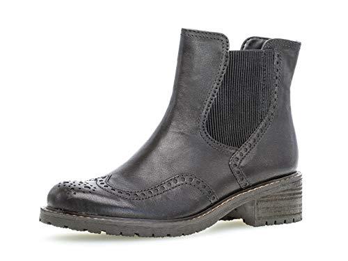 Gabor Damen Chelsea Boots 36.091, Frauen Stiefelette,Stiefel,Halbstiefel,Bootie,Schlupfstiefel,hoch,schwarz (Mel.),40 EU / 6.5 UK