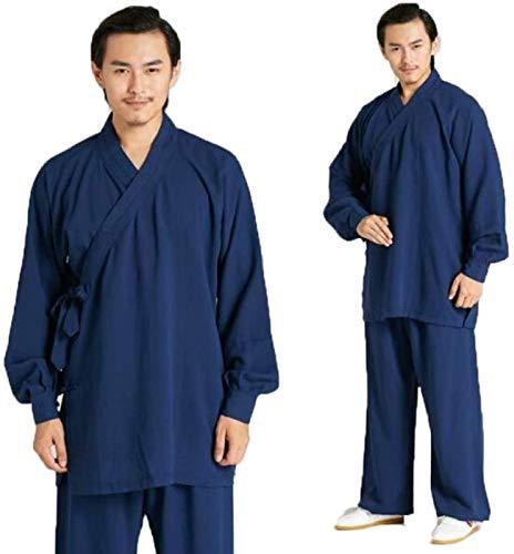 GUIOB Tai Chi Uniforme Arti Marziali Set di Abbigliamento Cinese Tradizionale Uomini Donne Kung Fu Wing Chun Taekwondo Abbigliamento Allenamento Blue-XS