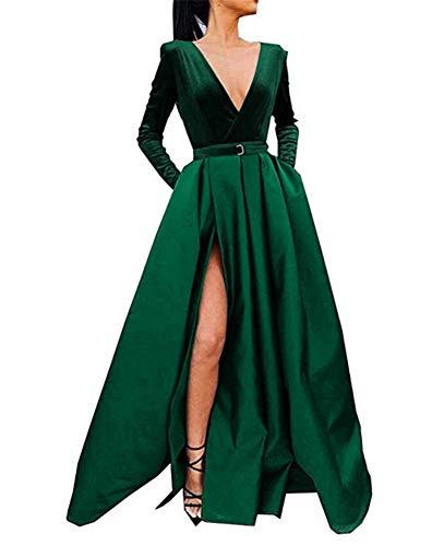 Emmani Langarm Satin Ballkleider Samt V-Ausschnitt formelle Abendkleider Gr. 38, smaragdgrün