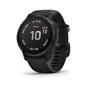 Garmin fenix 6S Pro Multisport GPS Smartwatch (Black with Black Band)