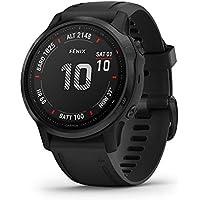 Garmin Fenix 6S Pro, reloj GPS multideporte definitivo, tamaño más pequeño, funciones de mapeo, música, monitoreo de ritmo ajustado por grado y sensores de pulso, negro con banda negra